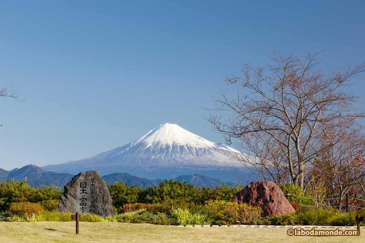 庭園の石碑と富士山