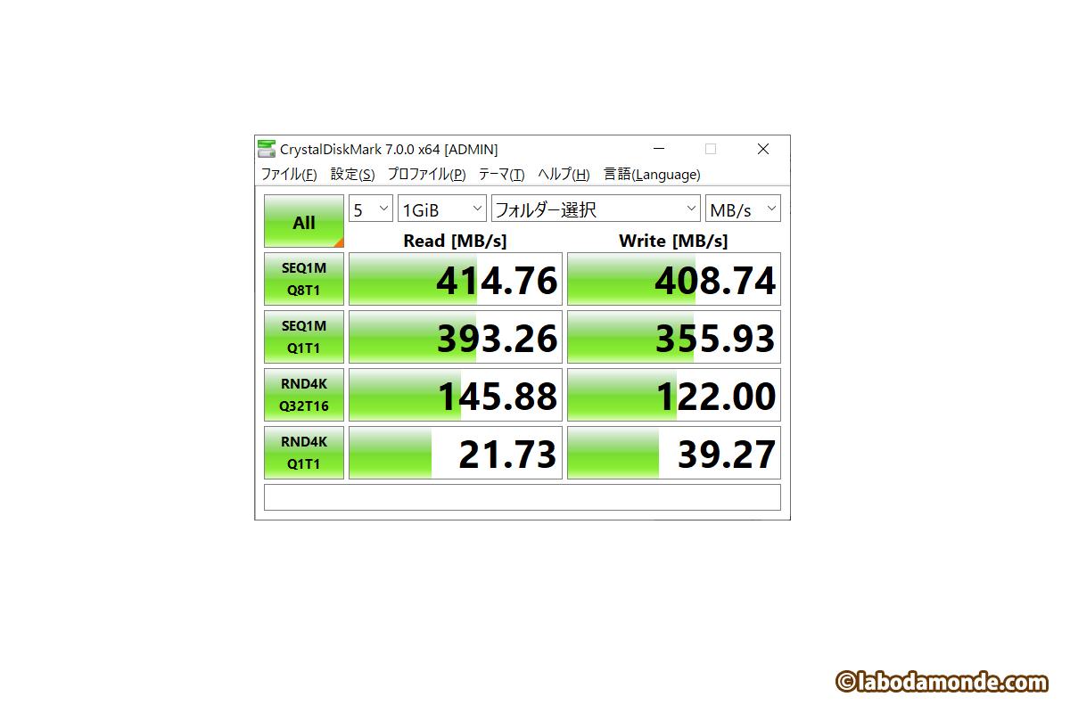 LHR-4BNHUC + Crucial SSD 1TB (MX500) 純正で接続